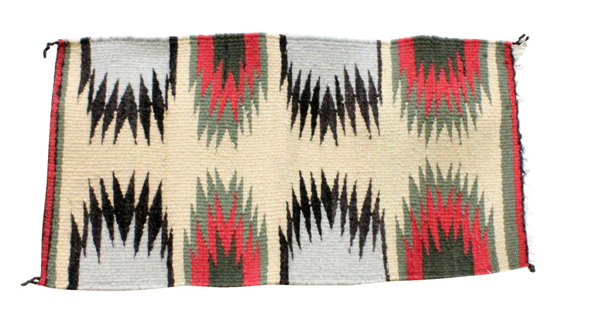 Gallup Throw Rug, Navajo Wool Cotton, Handwoven, 17.75 x 33.5 in