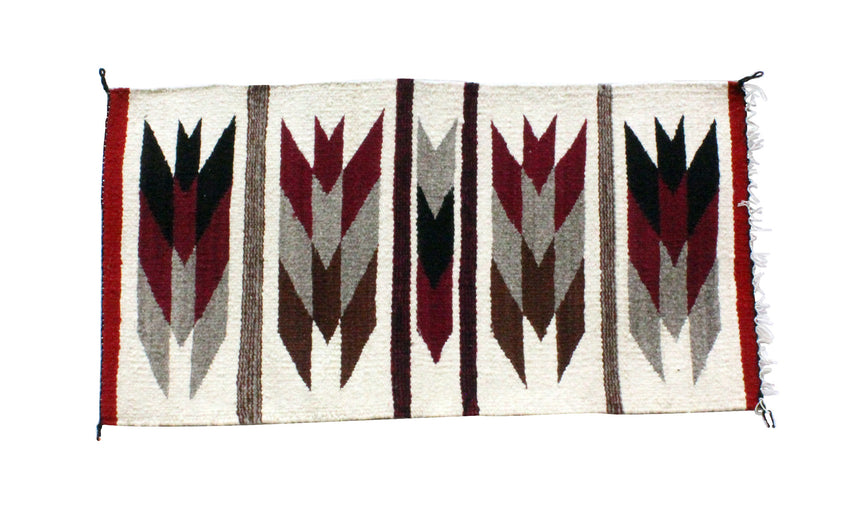 Gallup Throw Rug, Navajo Wool Cotton, Handwoven, 20 x 38.25 in