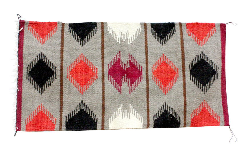 Gallup Throw Rug, Navajo Wool Cotton, Handwoven, 19.25 x 37.75 in