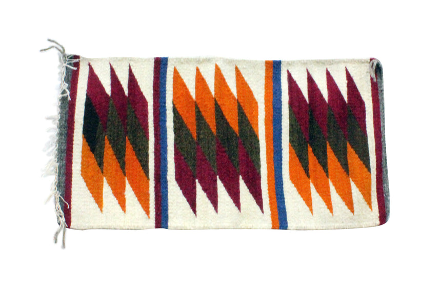 Gallup Throw Rug, Navajo Wool Cotton, Handwoven, 19.75 x 38.25 in