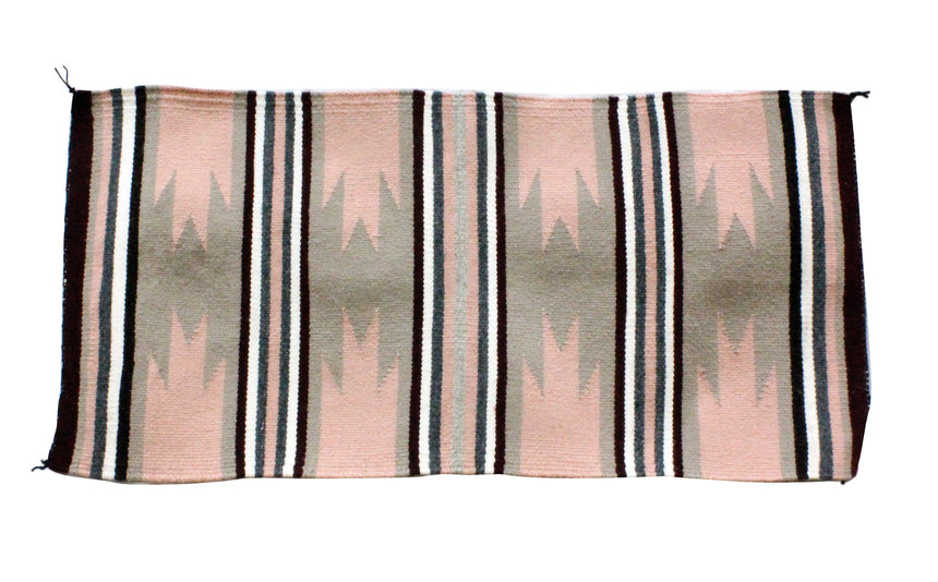 Gallup Throw Rug, Navajo Wool Cotton, Handwoven, 16.5 x 34 in