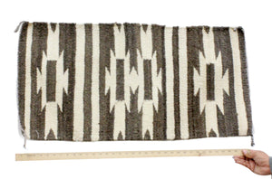 Gallup Throw Rug, Navajo Wool Cotton, Handwoven, 19.25 x 37 in