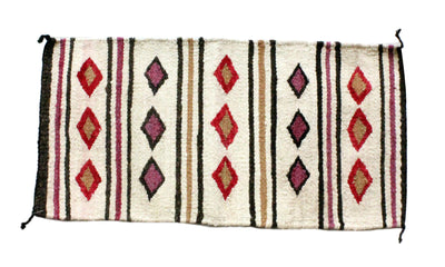 Load image into Gallery viewer, Gallup Throw Rug, Navajo Wool Cotton, Handwoven, 18.5 x 37 in