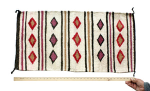 Gallup Throw Rug, Navajo Wool Cotton, Handwoven, 18.5 x 37 in