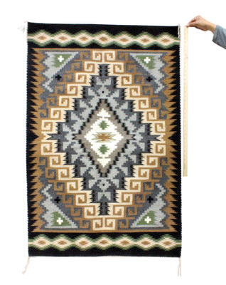 "Load image into Gallery viewer, Jefferson Benally, Wide Ruins Rug, Navajo Handwoven, 55"" x 36"""
