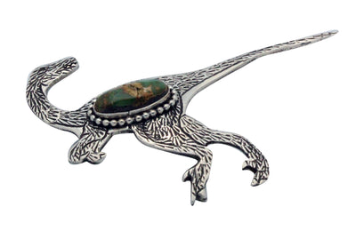 Load image into Gallery viewer, Lee Charley, Pin, Raptor, Royston Turquoise, Silver, Navajo Made, 2.25