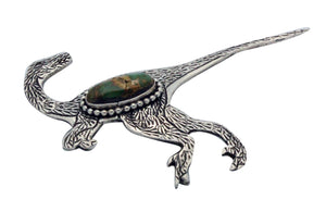 Lee Charley, Pin, Raptor, Royston Turquoise, Silver, Navajo Made, 2.25