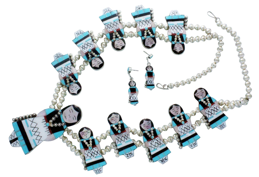Joyce Waseta, Necklace, Olla Maiden, Turquoise, Jet, Coral, Shell, Zuni, 27