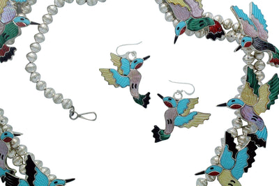 Load image into Gallery viewer, Tamara Pinto, Necklace, Earring Set, Hummingbird, Inlay, Zuni Handmade, 29