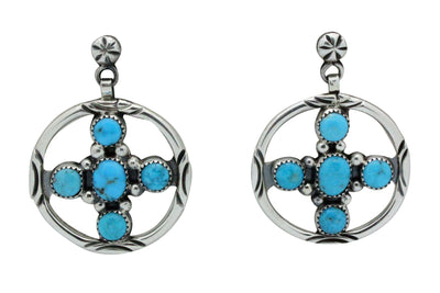 Load image into Gallery viewer, Henry Sam, Earrings, Kingman Turquoise, 4 Directions, Navajo Handmade, 2