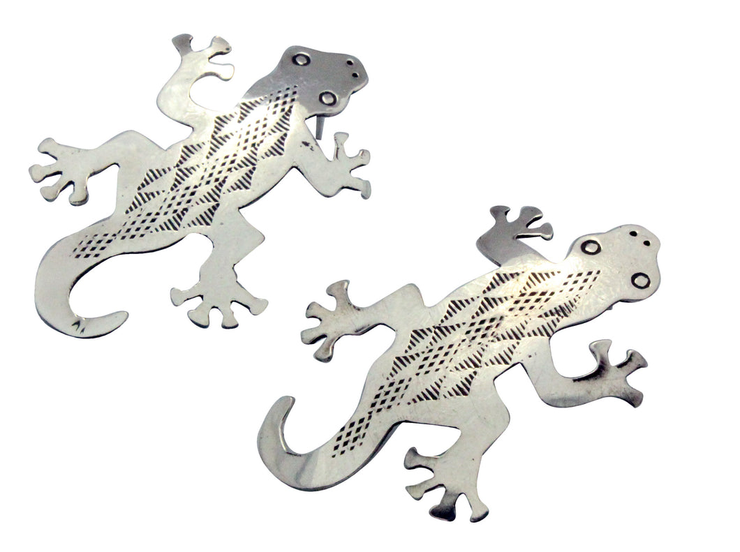 Melvin Francis, Earrings, Lizard, Silver, Stamping, Navajo Handmade, 2