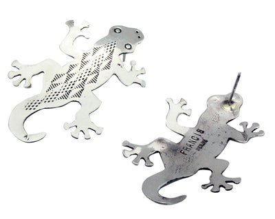 Load image into Gallery viewer, Melvin Francis, Earrings, Lizard, Silver, Stamping, Navajo Handmade, 2
