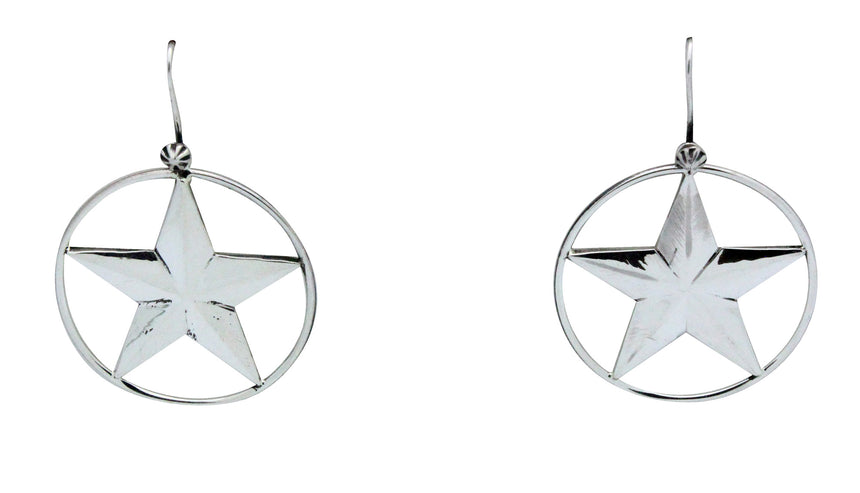Derrick Gordon, Earrings, Star Design, Sterling Silver, Navajo Handmade, 2