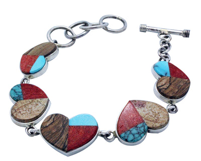 Load image into Gallery viewer, Melvin Francis, Eugene Chee, Link Bracelet, Hearts, Inlay, Navajo Handmade, 9.25