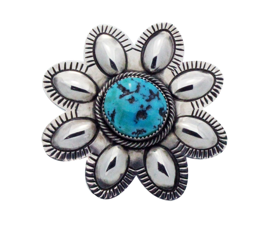 Julian Chavez, Ring, Sleeping Beauty Turquoise, Flower, Navajo Handmade, 8.5