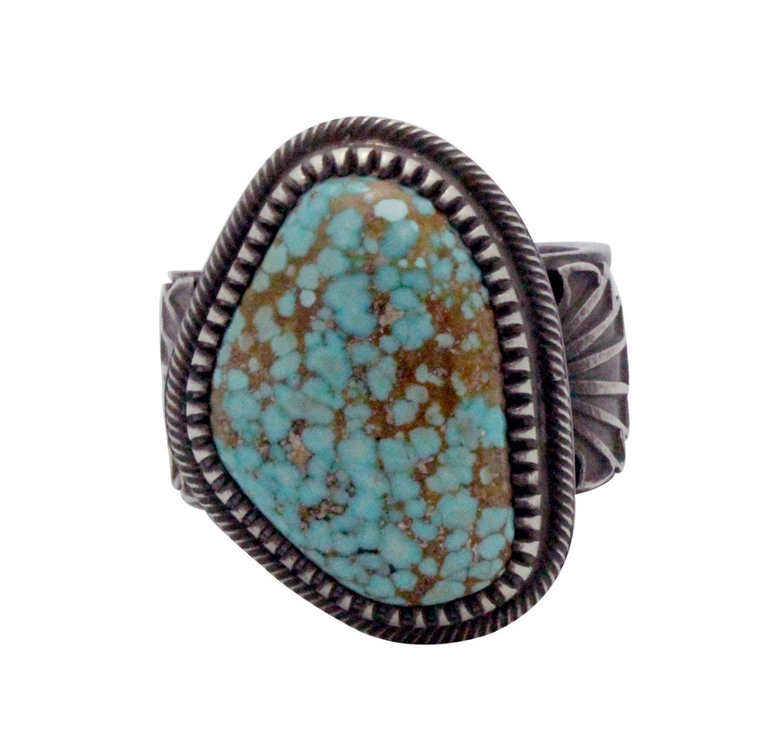 Floyd Parkhurst, Ring, Stamping, Number Eight Turquoise, Navajo Handmade, 13