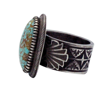 Load image into Gallery viewer, Floyd Parkhurst, Ring, Stamping, Number Eight Turquoise, Navajo Handmade, 13