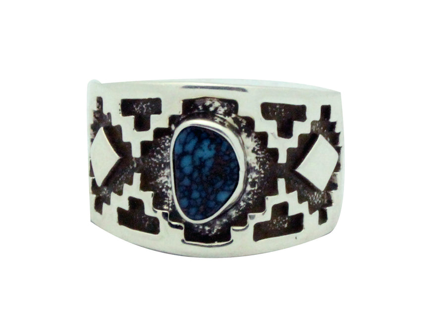 Tommy Jackson, Ring, Indian Mountain Turquoise, Rug Design, Navajo Handmade, 11.5