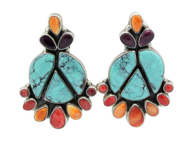 Load image into Gallery viewer, Vernon, Clarissa Hale, Earrings, Chinese Turquoise, Shell, Navajo Handmade, 2
