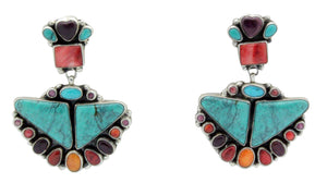 Vernon, Clarissa Hale, Earrings, Turquoise, Spiny Oyster Shell, Navajo Made, 2.25