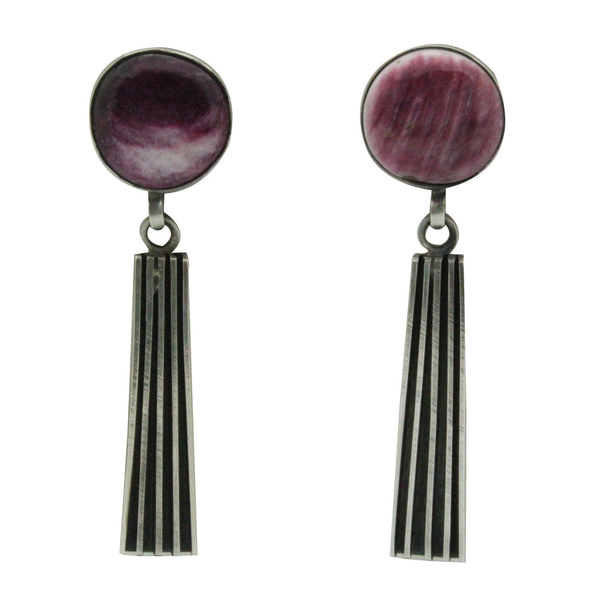 Melvin Francis, Earrings, Purple Spiny Oyster Shell, Silver, Navajo Handmade, 2.5