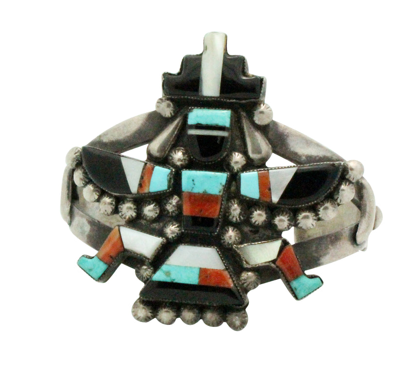 Zuni Handmade Bracelet, Knifewing, Jet, Coral, Shell, Turquoise, Circa 1960, 6.25