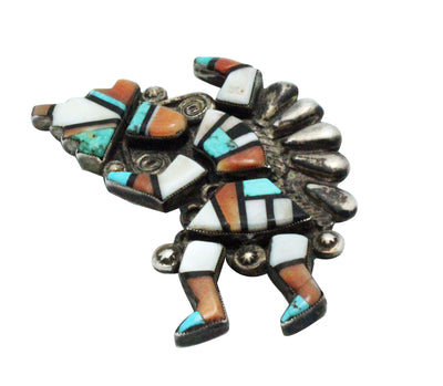 Load image into Gallery viewer, Zuni Handmade Pin, Rainbow Man, Coral, Shell, Jet Turquoise, Circa 1940s, 2.5