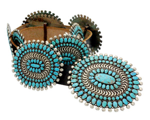 Zuni Concho Belt, Circa 1960s, Nevada Turquoise, Attributed Mary, Lee Weebothee