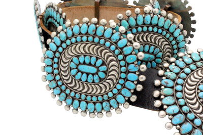 Load image into Gallery viewer, Zuni Concho Belt, Circa 1960s, Nevada Turquoise, Attributed Mary, Lee Weebothee