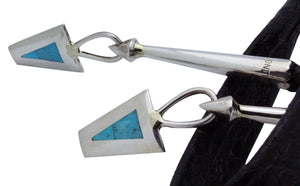 Harlan Coonsis, Bolo, Knifewing, Turquoise, Inlay, Silver, Zuni Handmade,