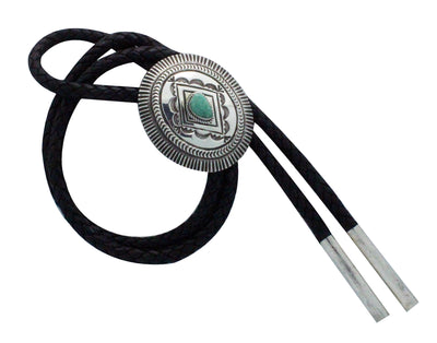 Load image into Gallery viewer, Leonard Maloney, Bolo Tie, Traditional, Turquoise, Silver, Navajo Handmade,