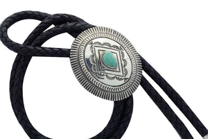Leonard Maloney, Bolo Tie, Traditional, Turquoise, Silver, Navajo Handmade,