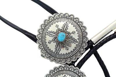 Load image into Gallery viewer, Alex Sanchez, Bolo, Buckle Set, Traditional Style, Turquoise, Navajo Made,