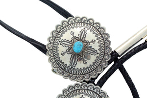 Alex Sanchez, Bolo, Buckle Set, Traditional Style, Turquoise, Navajo Made,