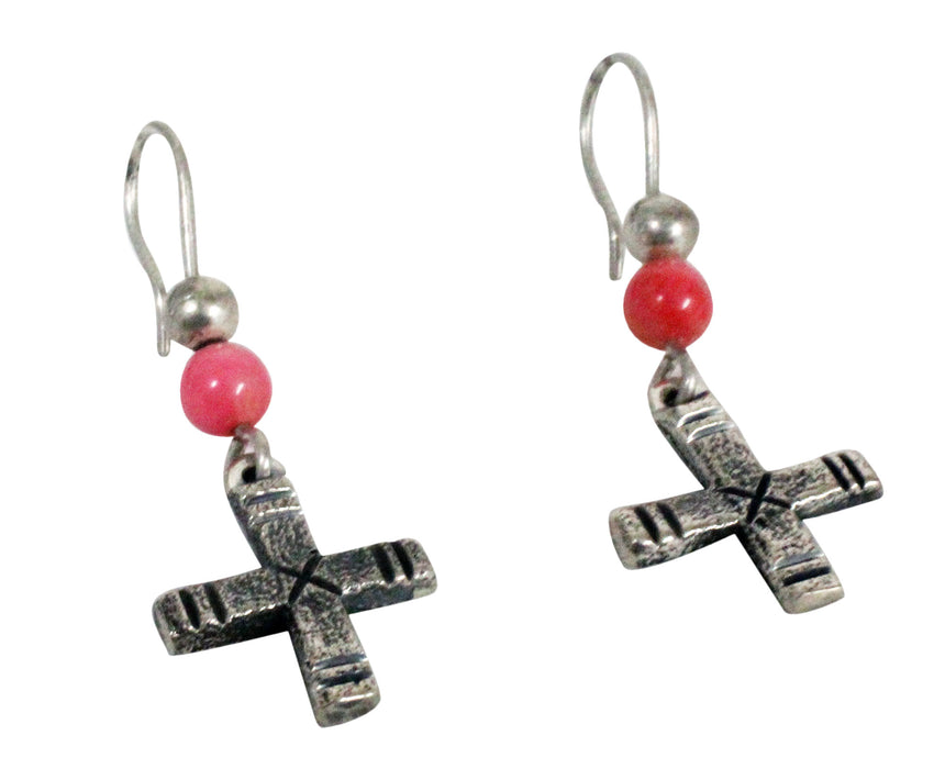 Harrison Jim, Dangle Earrings, Cross Design, Pink Coral, Navajo Handmade, 2