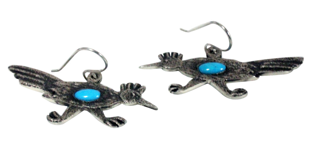 Lee Begay, Earrings, Roadrunner, Tufa Cast, Silver, Navajo Handmade, 1.25