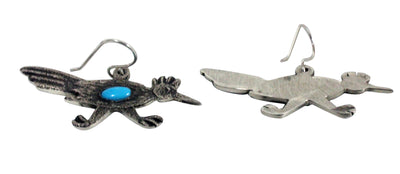 Load image into Gallery viewer, Lee Begay, Earrings, Roadrunner, Tufa Cast, Silver, Navajo Handmade, 1.25