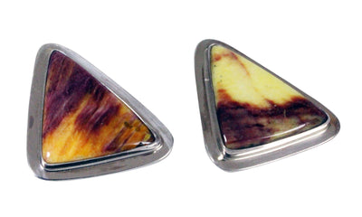 Load image into Gallery viewer, Andy Cadman, Pierced Earrings, Purple Spiny Oyster Shell, Silver, Navajo, 1.5