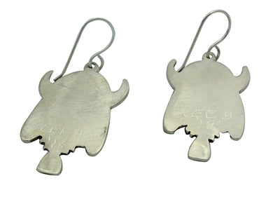 Load image into Gallery viewer, Lee Begay, French Hook Earrings, Buffalo Dancer, Navajo Handmade, 2