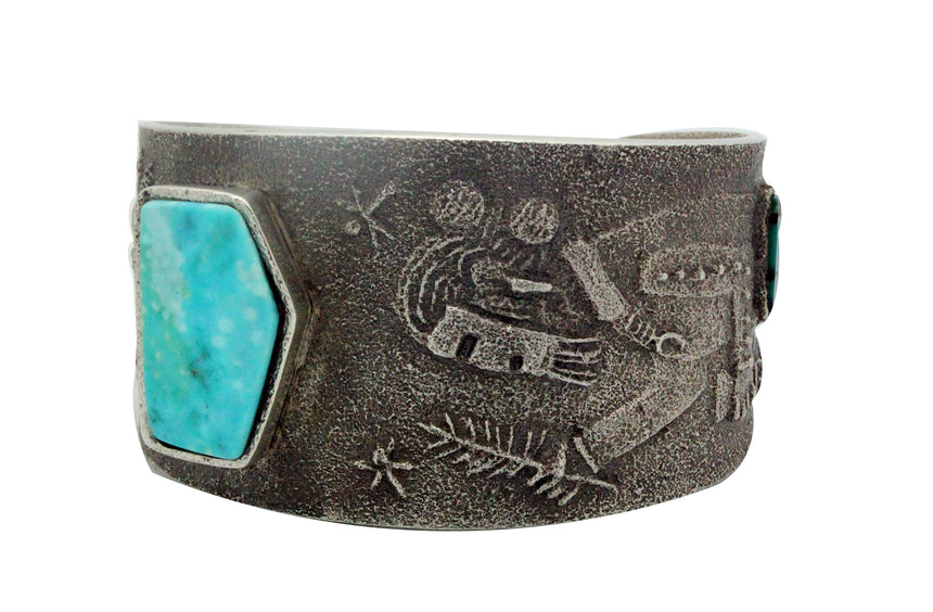 Lee Begay, Tufa Cast Bracelet, Sand Painting Yei', Turquoise, Navajo Made, 6.25