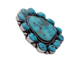 Hank Vandever, Ring, Cluster, Morenci Turquoise, Silver, Navajo Handmade, 7