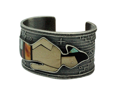 Load image into Gallery viewer, Monty Claw, Bracelet, Warrior, Coral, Iron Wood, Lapis, Navajo Handmade, 6.75