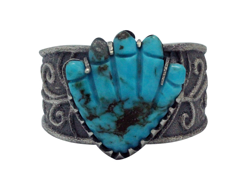 Monty Claw, Pete, Dinah Gasper, Bracelet, Carved Hand, Zuni, Navajo Made, 6.25