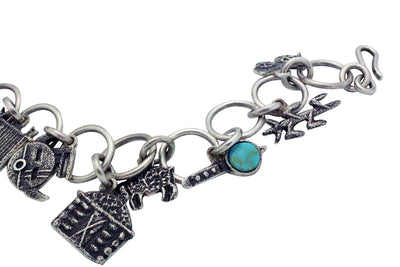Load image into Gallery viewer, Lee Begay, Charm Bracelet, Storyteller, Turquoise, Silver, Navajo Handmade