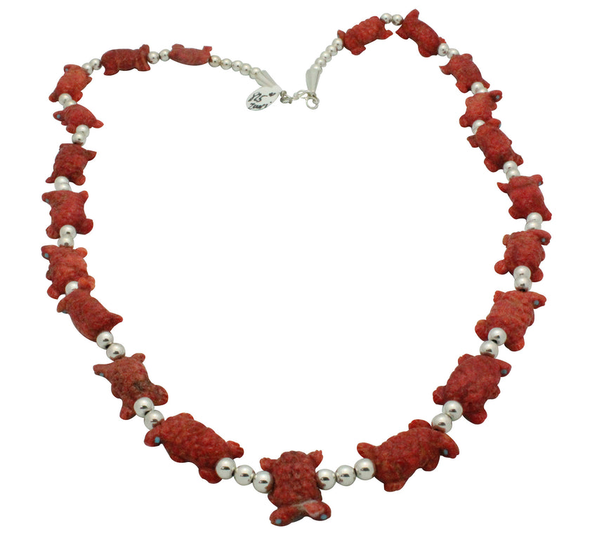 Lance Cheama, Fetish Necklace, Turtles, Apple Coral, Zuni Handmade, 25.5