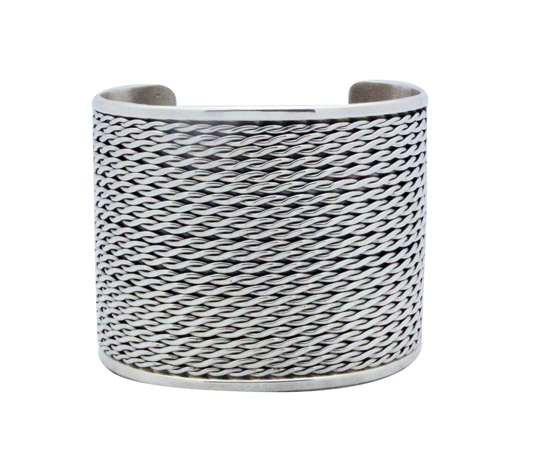 Phillip Tsosie Jr, Bracelet, Wide, Silver, Flattened Twist, Navajo Made, 6 3/4