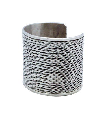 Load image into Gallery viewer, Phillip Tsosie Jr, Bracelet, Wide, Silver, Flattened Twist, Navajo Made, 6 3/4""