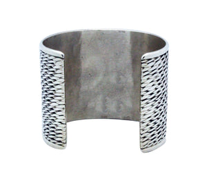 Phillip Tsosie Jr, Bracelet, Wide, Silver, Flattened Twist, Navajo Made, 6 3/4""