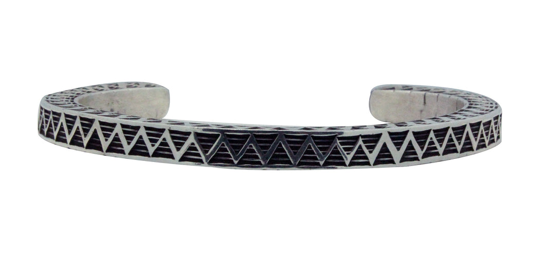 Bo Reeves, Bracelet, Square Wire, Three Sides, Stamping, Navajo Handmade, 6 3/4