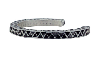 Load image into Gallery viewer, Bo Reeves, Bracelet, Square Wire, Three Sides, Stamping, Navajo Handmade, 6 3/4""
